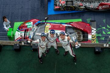 #2 PORSCHE TEAM / DEU / Timo Bernhard (DEU) / Earl Bamber (NZL) / Brendon Hartley (NZL) - Overall winners Podium WEC 6 Hours of Nurburgring - Nurburgring - Nurburg - Germany